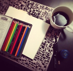 coffee and colored pencils